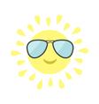 Sun shining icon Sun face with pilot sunglassess vector image