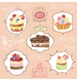 Watercolor sweet cakes label set vector image
