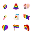 Culture LGBT icons set cartoon style vector image