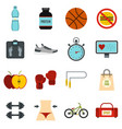 healthy life set flat icons vector image