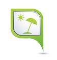 beach icon on green pointer vector image vector image