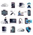 datacenter hosting server cloud set vector image vector image