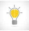 Human brain in lightbulb flat vector image