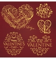 Set of Calligraphic Valentines Day design elements vector image