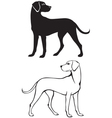 silhouette and contour of dog vector image
