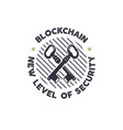 blockchain - new level of security emblem concept vector image