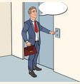 businessman pressing elevator button pop art vector image