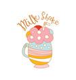 milk shake logo template label for restaurant vector image