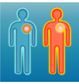Red and blue human silhouette pain on heart vector image