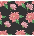 Seamless pattern with red flowers on a dark vector image