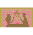 Young couple silhouettes flirt and drink champagne vector image