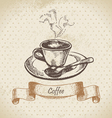 Cup of coffee hand drawn vector image vector image