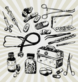 medical stuff hand drawn vector image vector image