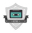 Recorder cassette retro label design vector image