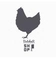 Farm bird silhouette Chicken meat Butcher shop vector image