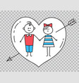guygirl holding hands with heart pierced by arrow vector image