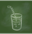 hand drawing glass of juice on green board - vector image