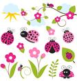 Pink Ladybug Set vector image