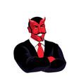 satan boss devil businessman in black suit red vector image