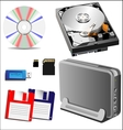 set of storage devices vector image