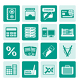 One tone bank business finance and office icons vector image vector image