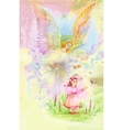 Beautiful Angel with Wings Flying over Child vector image