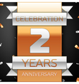 Two years anniversary celebration golden and vector image