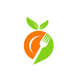 plate food leaf vegetarian logo vector image