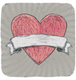 Vintage heart ribbon vector image