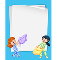 Paper design with two girls in pajamas vector image