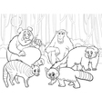 Animals group cartoon coloring page vector image