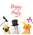 dog birthday party greeting card vector image