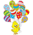Easter Chick with balloons vector image