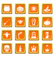 halloween icons set orange vector image