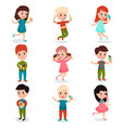 happy kids eating ice cream set of cartoon vector image
