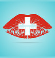switzerland flag lipstick on the lips isolated on vector image