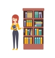 Library Or Bookstore With Young Woman Choosing A vector image