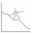 Business man balancing on declining graph vector image