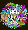 new year 2016 doodle hipster colorful background vector image