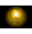 light bulb shining on the dark vector image vector image