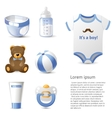 baby shower icons set vector image