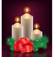 christmas new year card 3 burning candles vector image