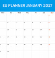 EU Planner blank for January 2017 Scheduler agenda vector image