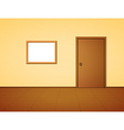 Room with door and frame vector image