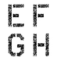 stencil angular spray font letters E F G H vector image
