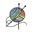 Thread and needles for knitting vector image