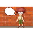 A boy thinking near wall vector image