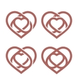 Isolated abstract monoline heart logo set Love vector image