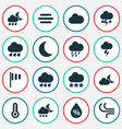 climate icons set collection of lightning cloudy vector image