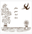 Romantic card concept Cute flowers and swallow vector image vector image